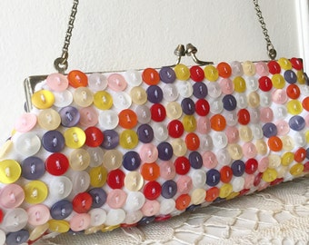 Vintage Button Clutch Bag with Kiss Lock