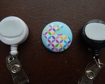 Fabric Covered Button for Clip on Retractable Badge Reel - Easter bunny