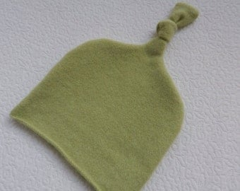 Recycled Light Green Cashmere Baby Hat  12-24 months