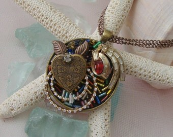 Assemblage, Pendant Necklace, Vintage Colored Glass Bugle Beads, Double Bronze chain, Mosaic, Charm, Pastel, Broken Jewelry Mosaic Pendant