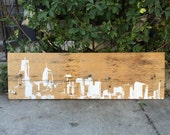 "42"" x 12"" Philadelphia Skyline Wall Hanging on Reclaimed Barn Wood"