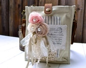 Postcards and Lace - white color - wearable art collage with vintage crochet - convertible shoulder and belt bag