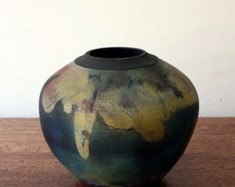 Vintage Mid Century Modern Ceramic Raku Studio Vase, Pottery, Decor