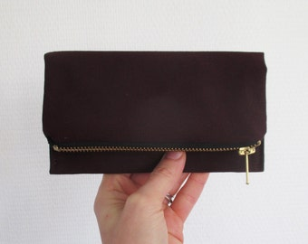 Aubergine iPhone wallet, vegan eggplant canvas smart phone clutch, ready to ship
