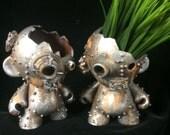 Silver rusted Kidrobot Munny planter sculpture  succulents  terrarium decor industrial