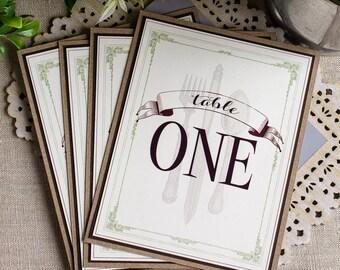 Wedding Reception Table Numbers Eat Drink Be Married Vintage Silverware