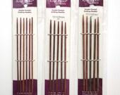 3 Packs Knit Picks Double Points - Harmony Rainbow Wood Needles - Knitting Needles - 5 inch Sock Needles - SIzes 0/1/2 - 5 & 6 Needle Sets