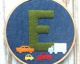 Wool Felt Hoop Art -Wool Felt Monogram with Wool Felt Cars & Trucks - Boy's Nursery Decor - Customize