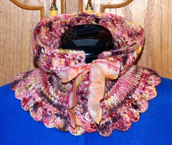 On SALE - Briar Rose Neck Warmer Merino Silk Hanah Silk Ribbon OOAK Design Creation Soft Luxury Rose Mauve Burgundy Yellow