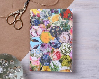 Patchwork Pocket Notebook - floral notepad - notebook for her - A6 notebook - plain notebook - mothers day gift -