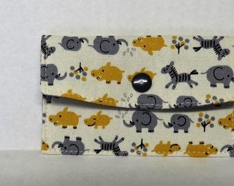 Mini Wallet - Gift Card Holder - Debit Credit Card Case -  Business Card Case  - Snap Closure - Yellow Gray Kawaii Animals Fabric
