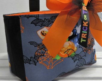 READY TO SHIP - Halloween Trick or Treat Candy Bag Basket Bucket - Made with Licensed Mickey Mouse Halloween Fabric