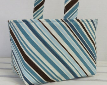 Easter Fabric Candy Egg Hunt Basket Bucket Storage Organizer - Blues Brown Stripe -PERSONALIZED/Name Tag Available - See Note in Listing