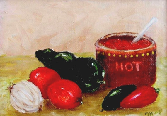 Original Art Framed Art The Perfect Salsa Ingredients Oil on Canvas Kitchen Art Mexican Cooking Oil on Canvas Chilies Peppers Onion Tomato