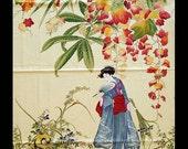Fabric  Panel Asian Japanese Geisha Garden Princess Maple Leaves M. Miller OOP HTF