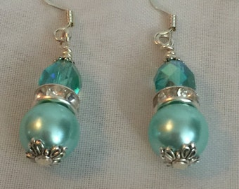 Wedding Bridesmaids Gift Bridal Jewelry Bridal Earrings limpet shell Aqua Blue Pearl Czech Glass Drop Dangle mint green Earrings