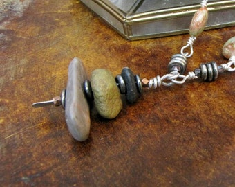 Desert Cairn Rock Gemstone Drilled Pendant Wire Wrapped Necklace 20 Gauge Sterling Silver Handmade Jewelry Zen Jewelry #24