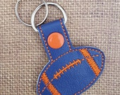 Embroidered Key Chain - Football - Orange and Blue