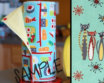 Unpaper Towel   Reusable Paper Towel - Atomic Cats (0333577) Tree Saver Towel   Kitchen Towel   Snapping Cloth Paperless Towel & Wet Bag