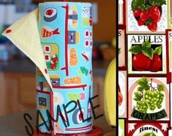 Tree Saver Towels AND Kitchen Wet Bag - Fruit Labels (0421082) - Reusable, Eco-Friendly, Snapping Cloth Unpaper Towel Set & Wet Bag