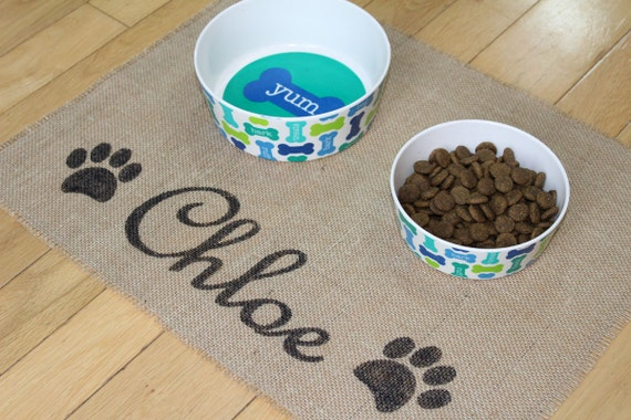 Custom puppy dog pet placemat for dog food bowls