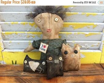SALE Primitive Doll I love Cats-