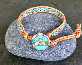 Martha's Vineyard Leather Wrap Bracelet Beaded  Vintage Map Button