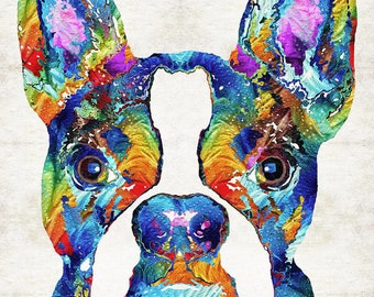 Colorful Boston Terrier Dog Art PRINT from Painting Dogs Pets Cute Nose Rainbow Animal Pop Art CANVAS Ready To Hang Fun Funny Small Breed
