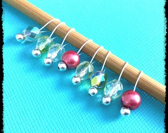 Snag Free Stitch Markers Small Set of 8 - Pink and Clear Fire Polished Czech Glass -- K14 -- Up to size US 8 (5.0mm) Knitting Needles