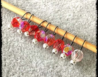 Snag Free Stitch Markers Extra Small Set of 8-- Red Czech Faceted Glass -- J60-- For up to size US 4 (3.5mm) Knitting Needles