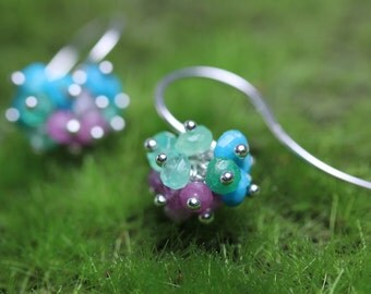 Sweet Gemstone Cluster Earrings. Turquoise Emerald and Pink Sapphire. December Birthstone. Gift for Her.