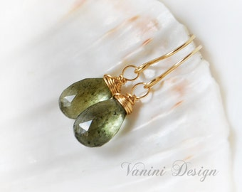 Green moss Aquamarine Earrings, Dangle Earrings in Gold, Gemstone Earrings , Wire Wrapped Aquamarine Earrings, Gift for Her