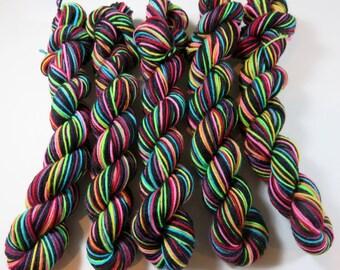 August Sale 15% Off -- Hand Painted Superwash Merino/Nylon 4-Ply Sock Yarn Mini Skeins (20grams/92yards) -- Tickle Me Emo (Striping)