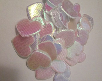 SALE - 45 White Iridescent Hearts - Scrapbooking