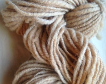 Y206 Hand spun Corridale yarn Natural Dyed with Walnuts  Thick and Thin