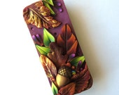 Acorn Autumn Leaves Slide Top Tin, Sewing Needle Case, Polymer Clay Covered Tin, Magnetic Needle Case, Slide Tin Treasure Keeper