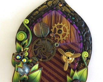 Steampunk Fairy Door with a Propeller, Tinker Pixie Portal, Miniature Fairy Garden Home Decor, Polymer Clay Door