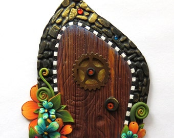 Glitter Fairy Door, Pixie Portal Home Decor, Fairy Garden Entrance, Polymer Clay Miniature Door