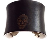 Black Skull Print Lambskin Leather Silver Lined Cuff Bracelet  - by UNEARTHED