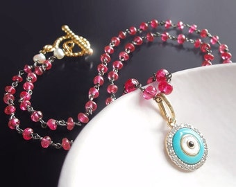 ON SALE 15% OFF Custom Made to Order - Evil Eye Necklace with Red Spinel, 14k Diamond and Enamel Charm