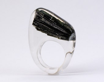 Tourmaline Ring, Classic Clear Resin Ring with Tourmaline