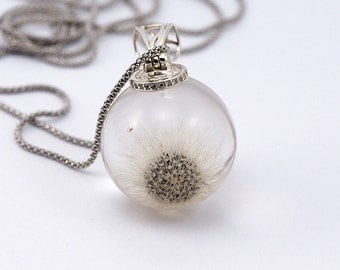 Dandelion and Zirconia, Sterling Silver Necklace, Resin Jewellery