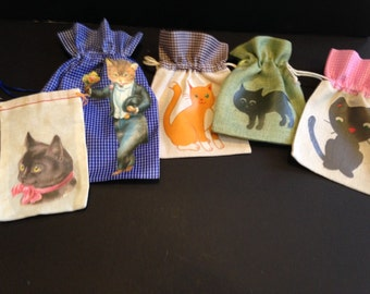 Fabric Gift Bags, Set of 5, Cute Cats