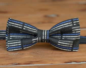 Mens police support bow tie - black blue American flag cotton bowtie - law enforcement, supporters bow tie - policeman - Thin Blue Line