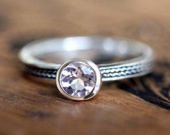 Pink morganite ring, morganite engagement ring, bezel set ring, braided ring, round solitaire ring, wheat ring, silver ring for women custom