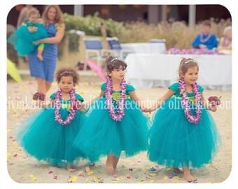 Juliet Flower Girl Dress, Teal Dress, Flower Girl, Tutu Dress, Tulle Dress, Girls party Dress, baby dress, couture