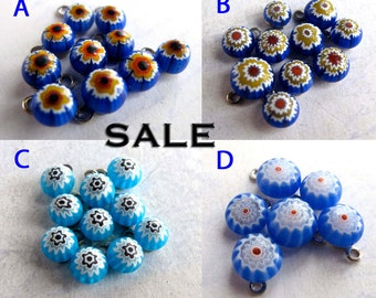 Vintage Blue Themed Italian Millefiore Glass Charms - You Choose (20X) (P552) SALE - 50% off