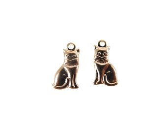 Tiny Rose Gold Plated Brass Kitty Charms - Mirrored (20X) (M530-D)