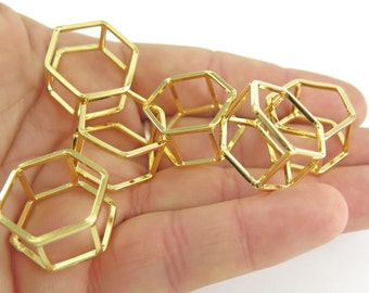 18k Gold Plated Geometric Square Wire Ring - Hexagon (1x) (K502-C)