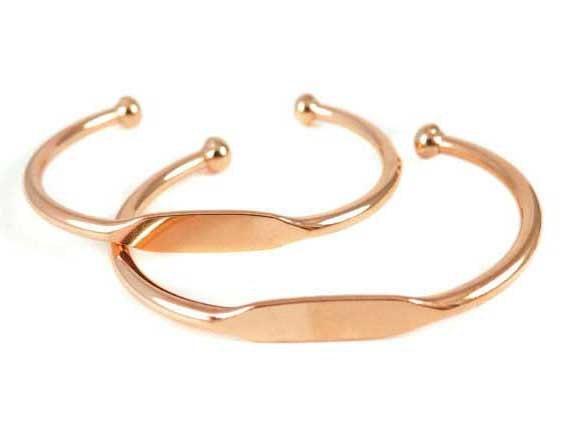 Rose Gold Plated Engraving Cuff Bracelet (J610-D)